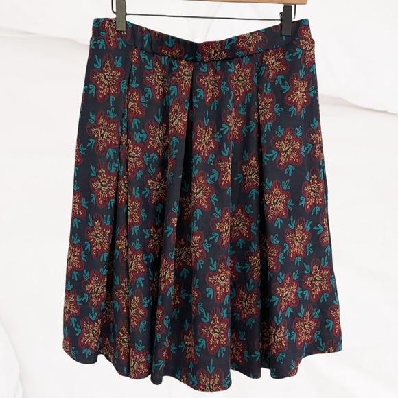 LuLaRoe Madison Floral Midi Skirt Pockets Size L